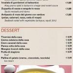 menu antipasti dessert